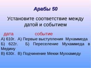 Установите соответствие между датой и событием дата событие А) 610г. А) Первы
