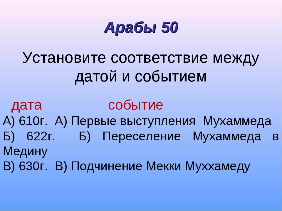 Установите соответствие между датой и событием дата событие А) 610г. А) Первы...