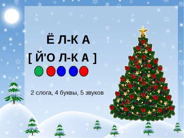 Ё Л-К А [ Й'О Л-К А ] 2 слога, 4 буквы, 5 звуков