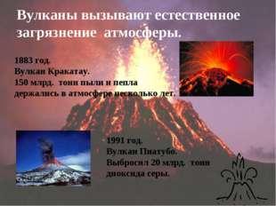 Вулканы вызывают естественное загрязнение атмосферы.