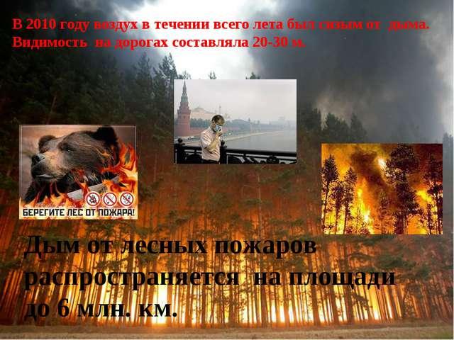Дым от лесных пожаров распространяется на площади до 6 млн. км. В 2010 году в...