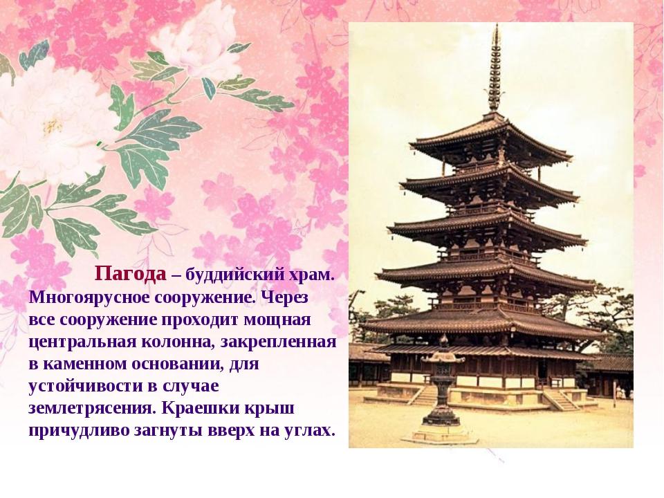 Пагода – буддийский храм. Многоярусное сооружение. Через все сооружение прох...