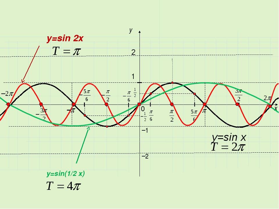 x y 1 0 −1 2 y=sin x −2 y=sin 2x y=sin(1/2 x)