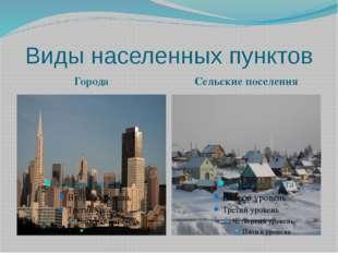 Виды населенных пунктов Города Сельские поселения