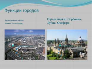 Функции городов Промышленные центры: Москва, Токио, Париж Города науки: Сорбо