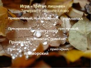 Игра «Третье лишнее» Зачерните лишнее слово Пришкольный, приусадебный, . Прес