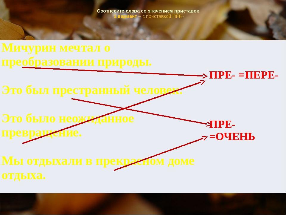 Соотнесите слова со значением приставок: 1 вариант – с приставкой ПРЕ- Мичур...