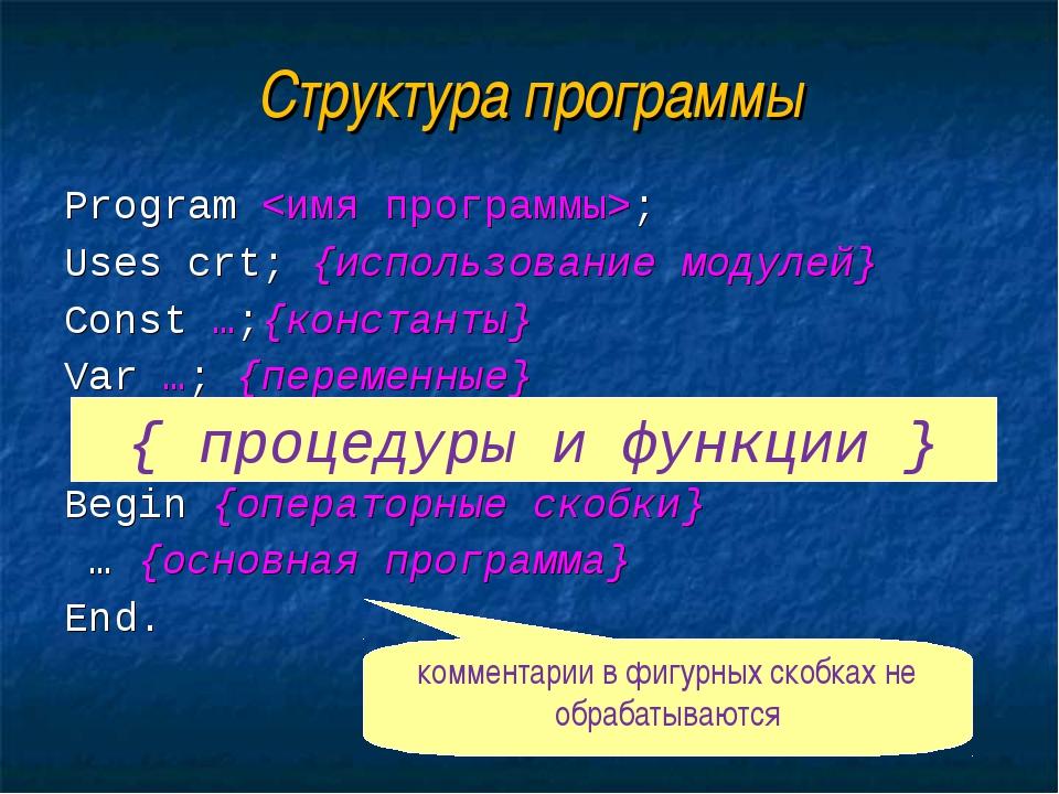 Структура программы Program ; Uses crt; {использование модулей} Const …;{конс...