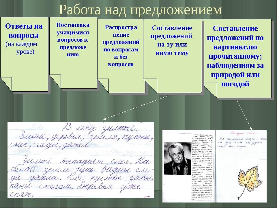 Работа над предложением Ответы на вопросы (на каждом уроке) Постановка учащи...