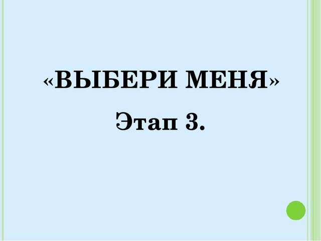 «ВЫБЕРИ МЕНЯ» Этап 3.