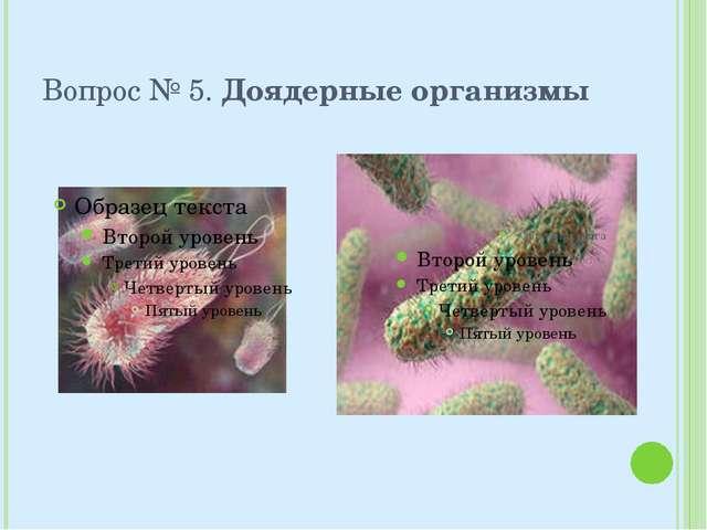 Вопрос № 5. Доядерные организмы