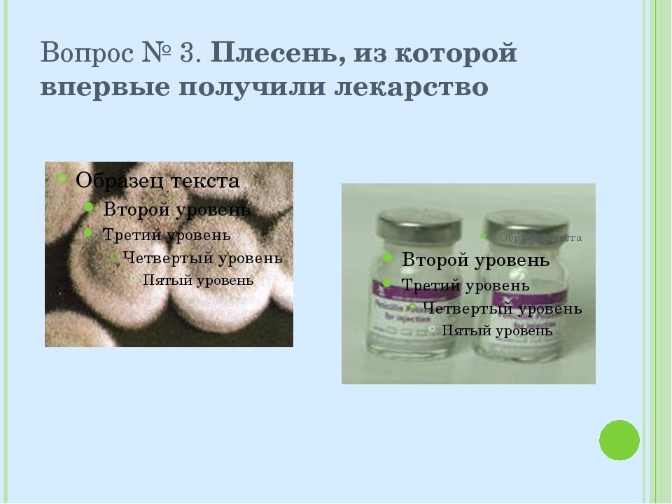 Вопрос № 3. Плесень, из которой впервые получили лекарство