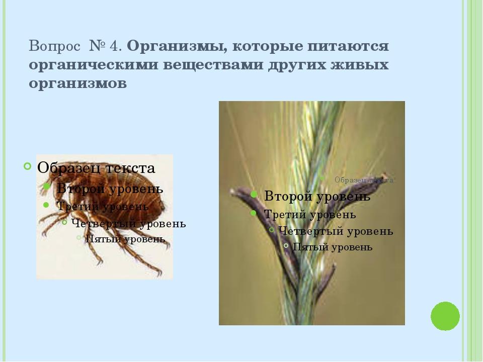 Вопрос № 4. Организмы, которые питаются органическими веществами других живых...