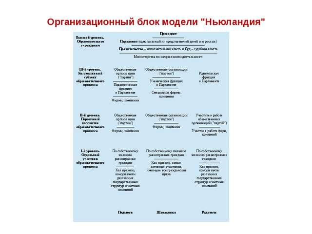 """Организационный блок модели """"Ньюландия"""" Высший уровень. Образовательное учреж..."""