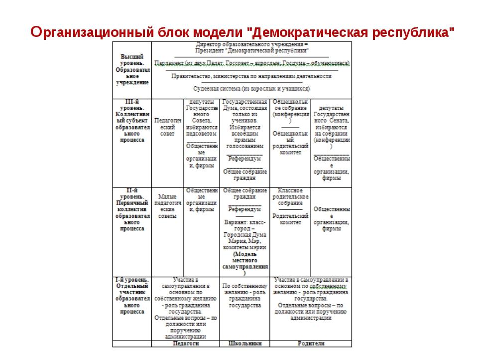 """Организационный блок модели """"Демократическая республика"""""""