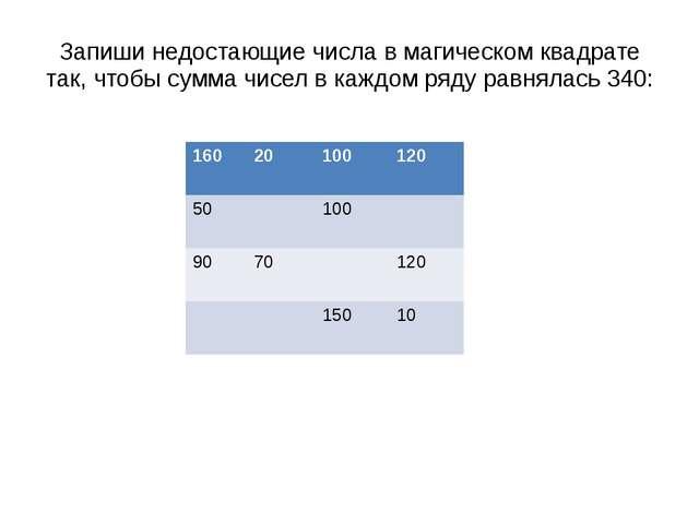 Запиши недостающие числа в магическом квадрате так, чтобы сумма чисел в каждо...