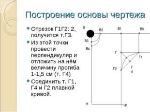 Построение основы чертежа Отрезок Г1Г2: 2, получится т.Г3. Из этой точки пров