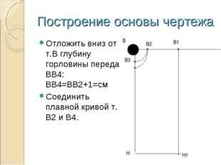 Построение основы чертежа Отложить вниз от т.В глубину горловины переда ВВ4: