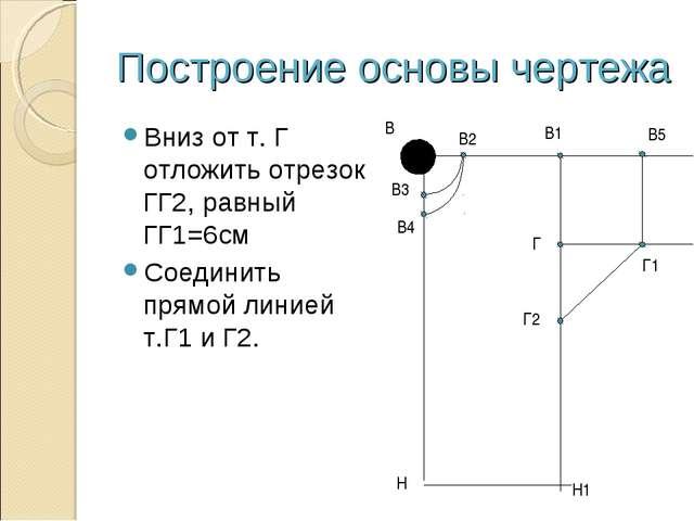 Построение основы чертежа Вниз от т. Г отложить отрезок ГГ2, равный ГГ1=6см С...