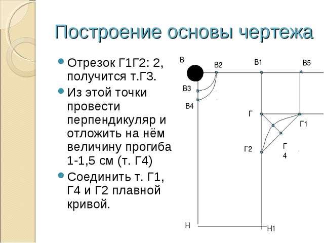 Построение основы чертежа Отрезок Г1Г2: 2, получится т.Г3. Из этой точки пров...