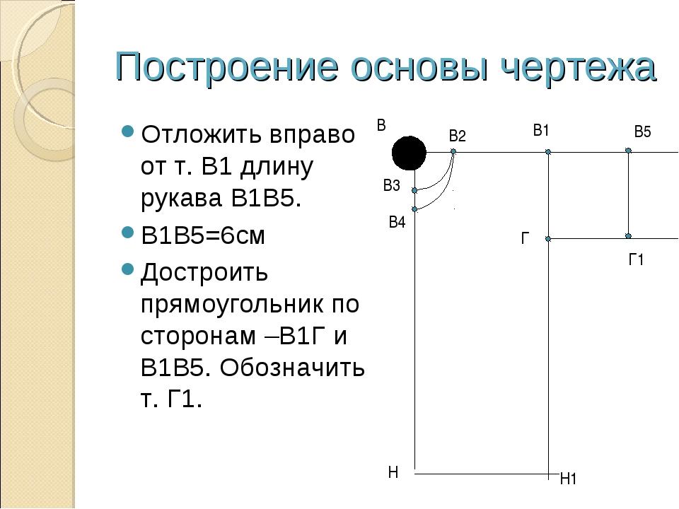 Построение основы чертежа Отложить вправо от т. В1 длину рукава В1В5. В1В5=6с...