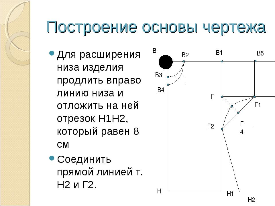Построение основы чертежа Для расширения низа изделия продлить вправо линию н...