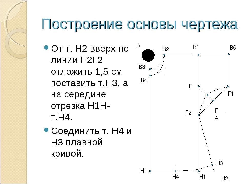 Построение основы чертежа От т. Н2 вверх по линии Н2Г2 отложить 1,5 см постав...