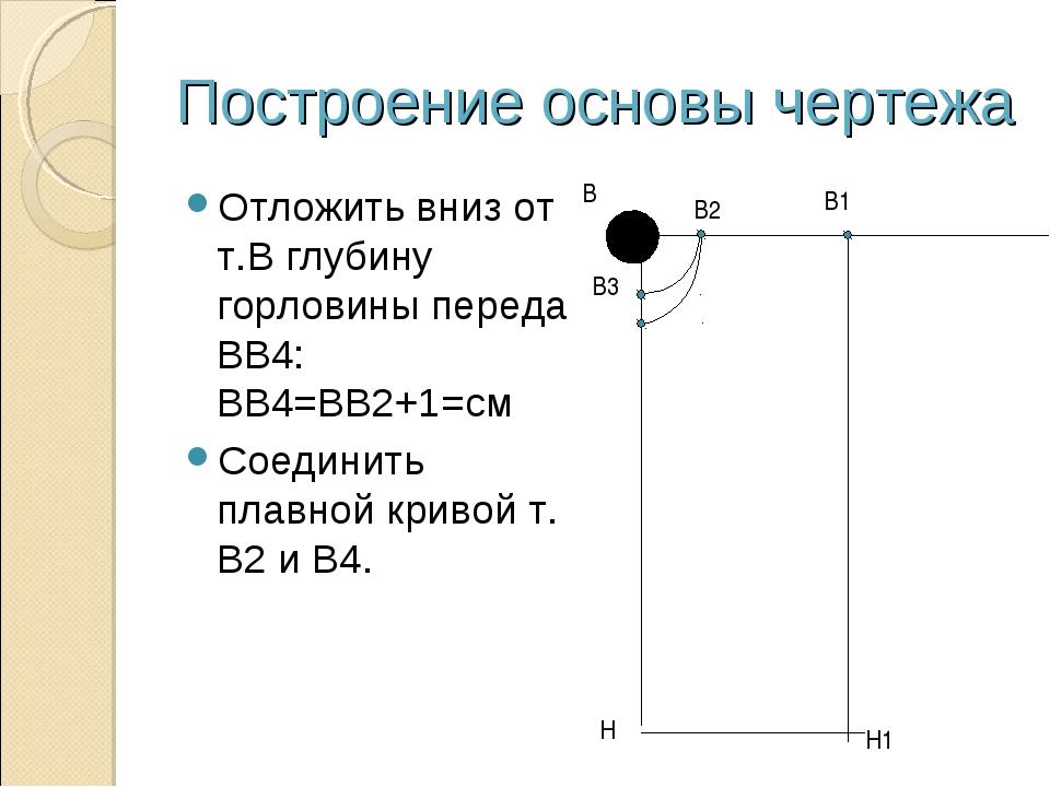 Построение основы чертежа Отложить вниз от т.В глубину горловины переда ВВ4:...