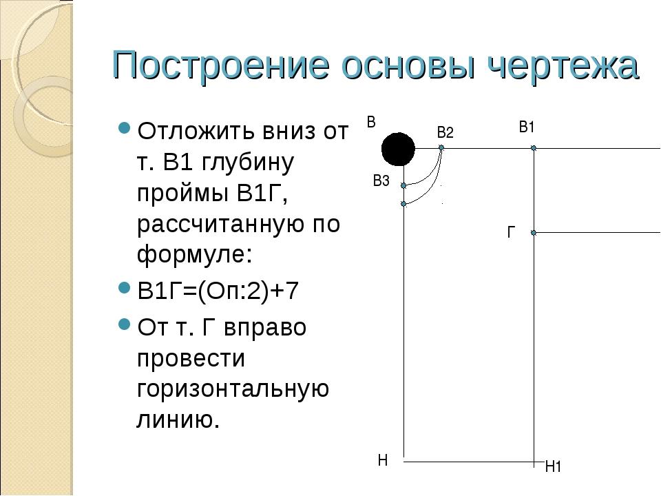 Построение основы чертежа Отложить вниз от т. В1 глубину проймы В1Г, рассчита...