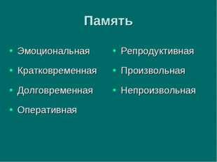Память Эмоциональная Кратковременная Долговременная Оперативная Репродуктивна