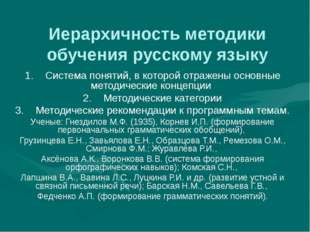 Иерархичность методики обучения русскому языку 1. Система понятий, в которой