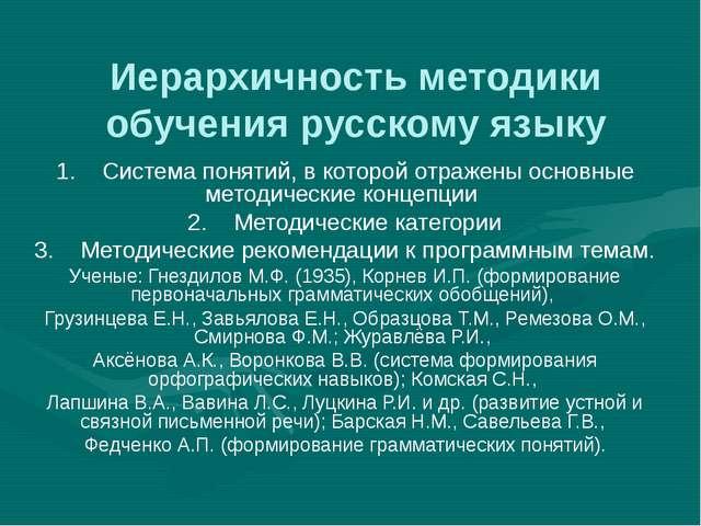 Иерархичность методики обучения русскому языку 1. Система понятий, в которой...