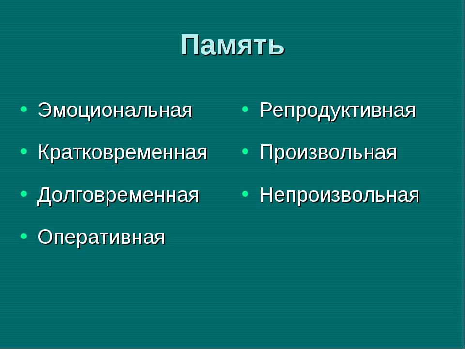 Память Эмоциональная Кратковременная Долговременная Оперативная Репродуктивна...