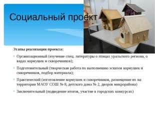 Социальный проект Этапы реализации проекта: Организационный (изучение спец. л