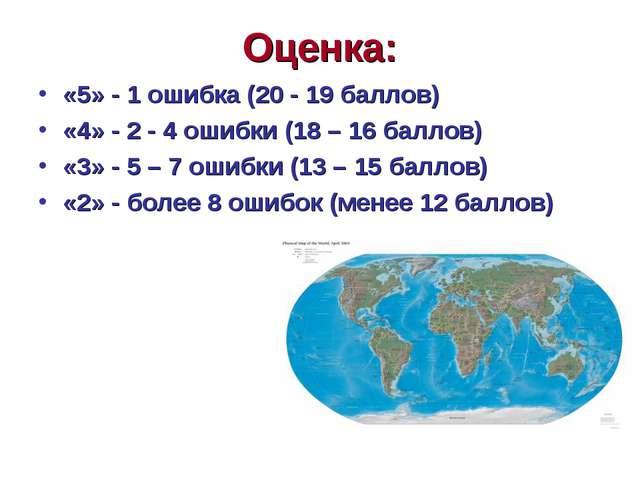 Оценка: «5» - 1 ошибка (20 - 19 баллов) «4» - 2 - 4 ошибки (18 – 16 баллов) «...