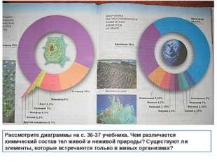 Рассмотрите диаграммы на с. 36-37 учебника. Чем различается химический состав