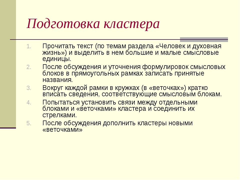 Подготовка кластера Прочитать текст (по темам раздела «Человек и духовная жиз...