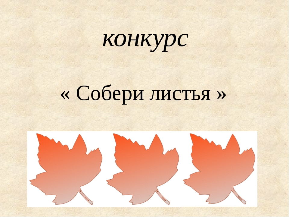 конкурс « Собери листья »