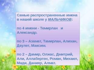 Самые распространенные имена в нашей школе у МАЛЬЧИКОВ: по 4 имени - Темирлан