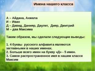 А – Айдана, Анжела И – Иван Д – Давид, Данияр, Даулет, Дияр, Дмитрий М – два