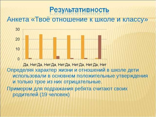 Анкета «Твоё отношение к школе и классу» Определяя характер жизни и отношений...
