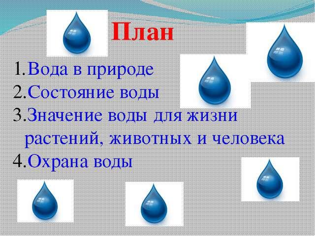 План Вода в природе Состояние воды Значение воды для жизни растений, животных...