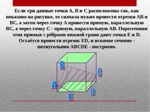 Если три данные точки A, B и C расположены так, как показано на рисунке, то с