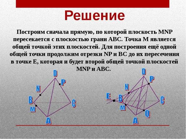 Решение Построим сначала прямую, по которой плоскость MNP пересекается с плос...