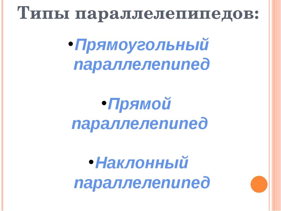 Типы параллелепипедов: Прямоугольный параллелепипед Прямой параллелепипед На...