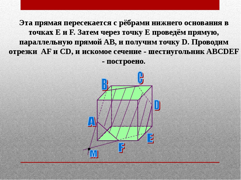 Эта прямая пересекается с рёбрами нижнего основания в точках E и F. Затем чер...