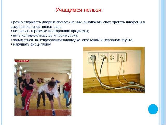 Учащимся нельзя: • резко открывать двери и виснуть на них, выключать свет, тр...