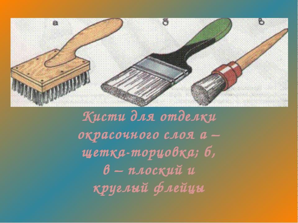 Кисти для отделки окрасочного слоя а – щетка-торцовка; б, в – плоский и кругл...