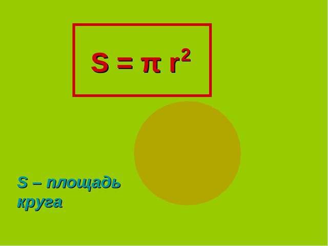 S = π r 2 S – площадь круга