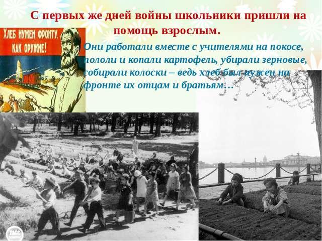С первых же дней войны школьники пришли на помощь взрослым. Они работали вмес...